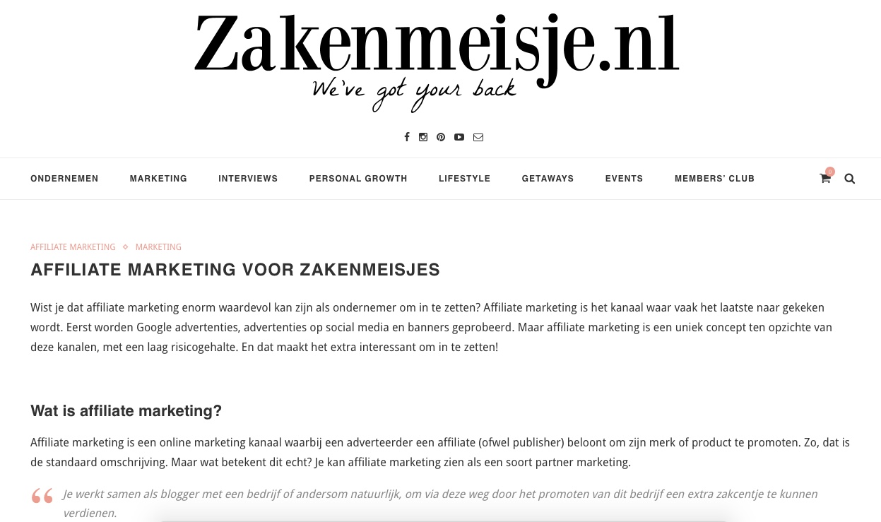 zakenmeisje gastblog affiliate marketing nummer 1
