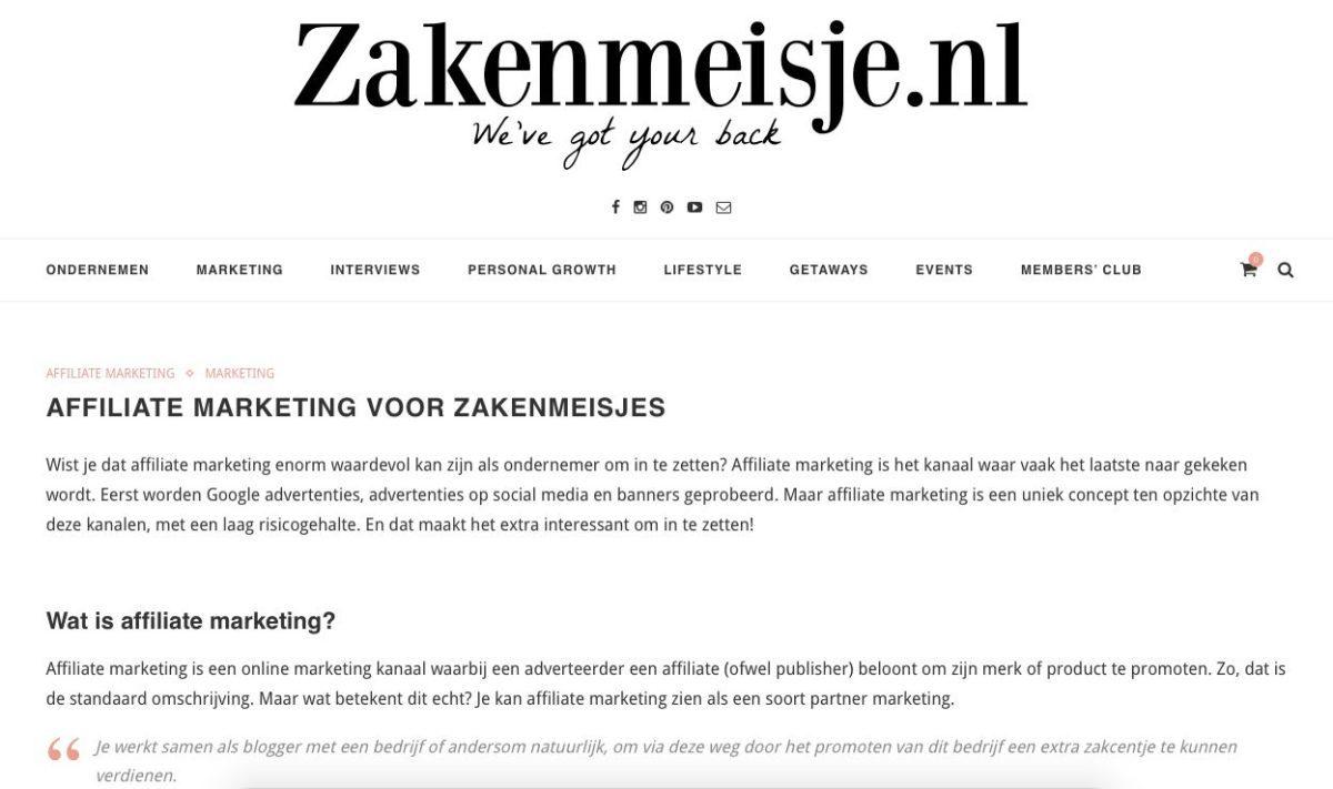 zakenmeisje gastblog affiliate marketing nummer 1