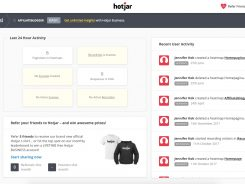 hotjar - site dashboard