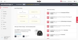 hotjar - site dashboard